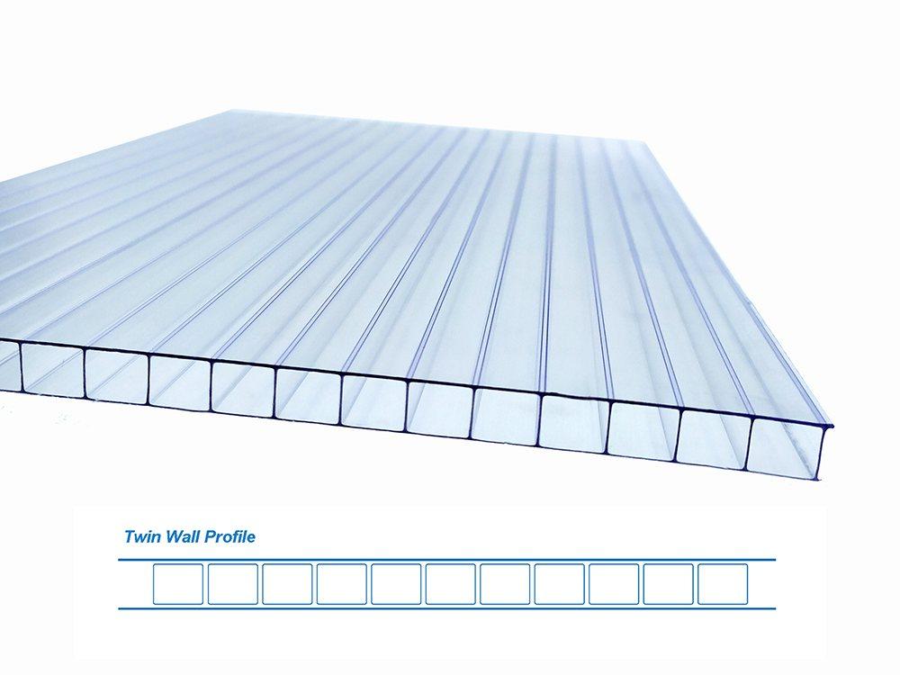 Plaque polycarboante alvéolaire double paroi transparent