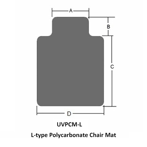 L-type Tapis Protège-sol bureau polycarbonate