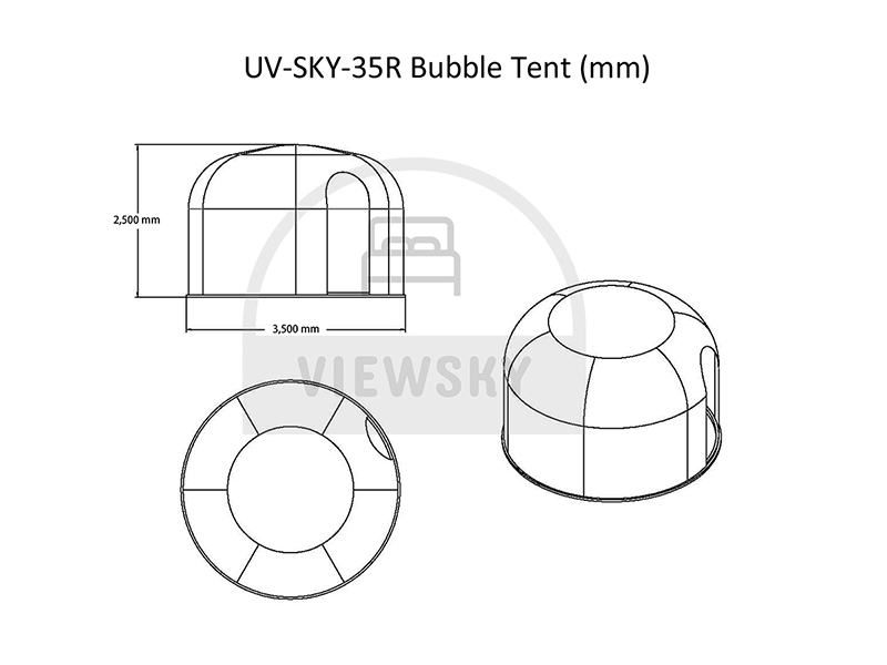 Dessin de la tente bulle de 3,5 mètre
